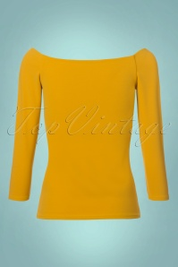 Vintage Chic Scuba Crepe Top Long Sleeve in Mustard 113 80 22760 20171120 0006W