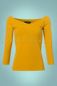 Vintage Chic Scuba Crepe Top Long Sleeve in Mustard 113 80 22760 20171120 0001W