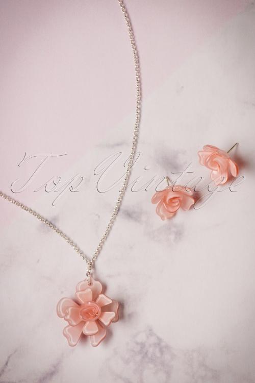 Lisa Angel Acrylic Rose Necklace Earrings set 290 22 23794 07112017 016W