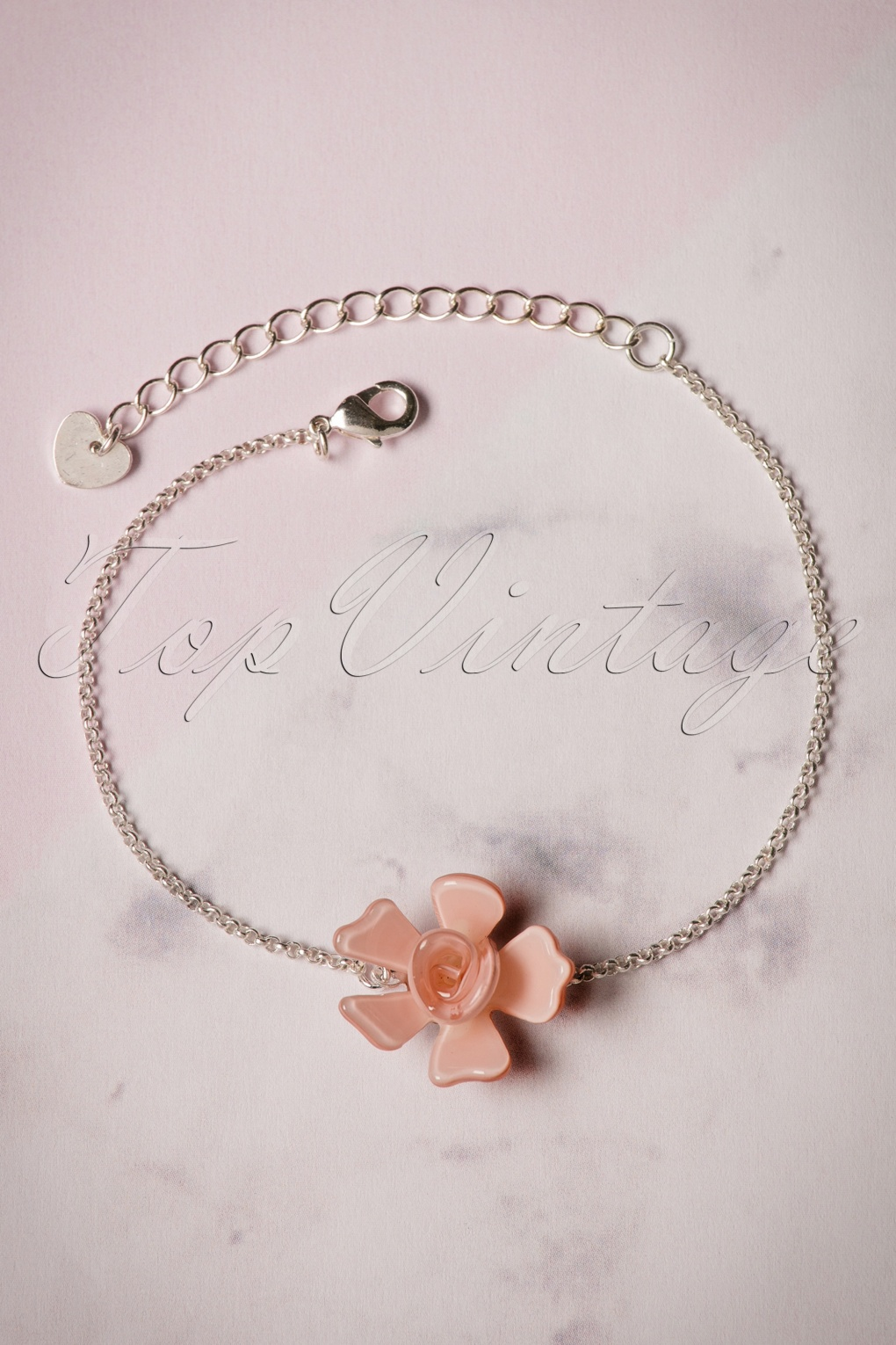 1960s Jewelry – 1960s Style Necklaces, Earrings, Rings, Bracelets 60s Single Rose Silver Plated Bracelet in Dusty Pink £14.96 AT vintagedancer.com