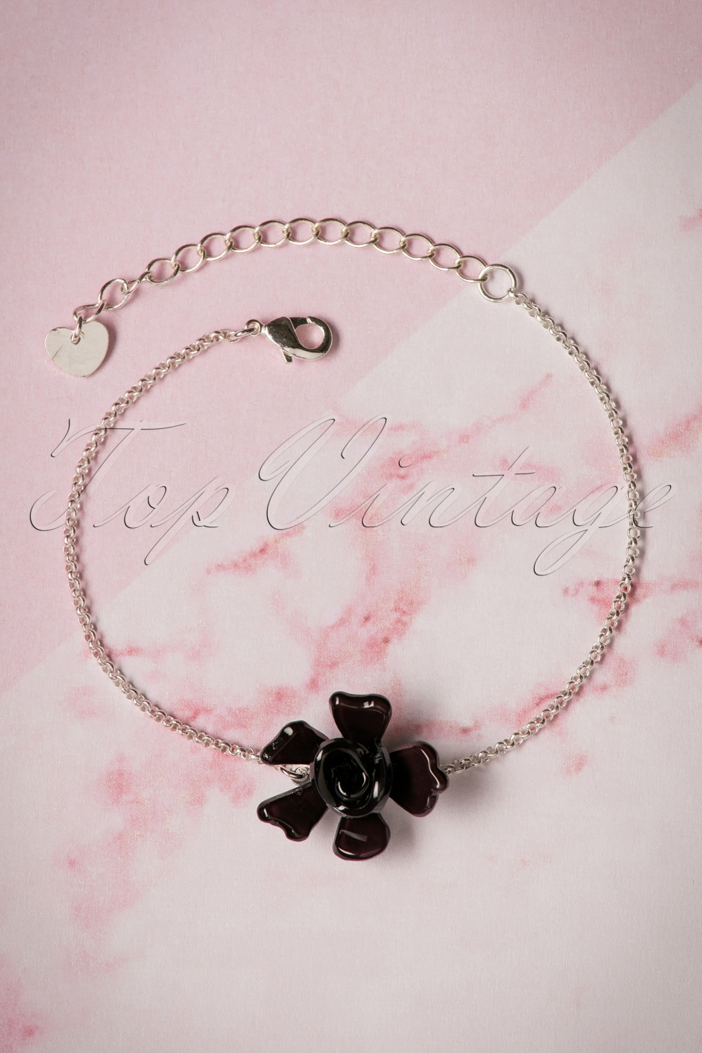 1960s Jewelry – 1960s Style Necklaces, Earrings, Rings, Bracelets 60s Single Rose Silver Plated Bracelet in Black £14.96 AT vintagedancer.com