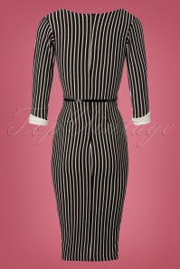 Vintage Chic Black Striped Pencil Dress 100 14 22490 20171120 0005W