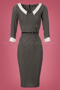 Vintage Chic Black Striped Pencil Dress 100 14 22490 20171120 0002W