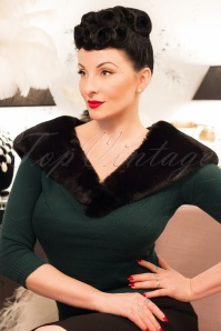 50s Vintage Faux Fur Stola in Jet Black