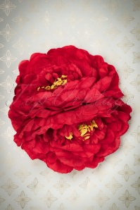 50s Double Peony Pretty Hair Clip in Red