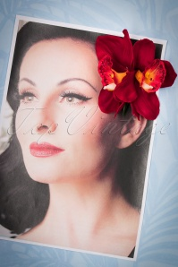 50s Double Orchid Pretty Hair Clip in Red