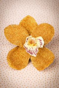 Lady Luck's Boutique Ginger Gold Glitter Single Orchid Hairflower 200 91 23837 20171121 0010w
