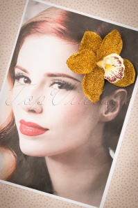 Lady Luck's Boutique Ginger Gold Glitter Single Orchid Hairflower 200 91 23837 20171121 0008w