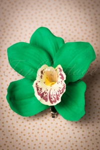 50s Orchid Pretty Hair Clip in Emerald Green
