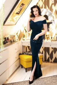 50s Beverly Velvet Maxi Dress in Navy
