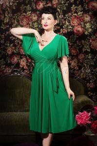 40s Lara Cross Over Swing Dress in Emerald