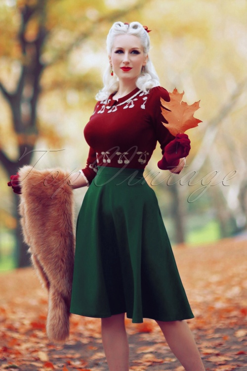 Vintage Chic 50s Sheila Green Skirt 122 40 23705 20171019 0008w