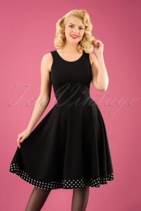 Bellissima  Polkadot Cape Black Swing Dress 102 14 23827 20171017 2W