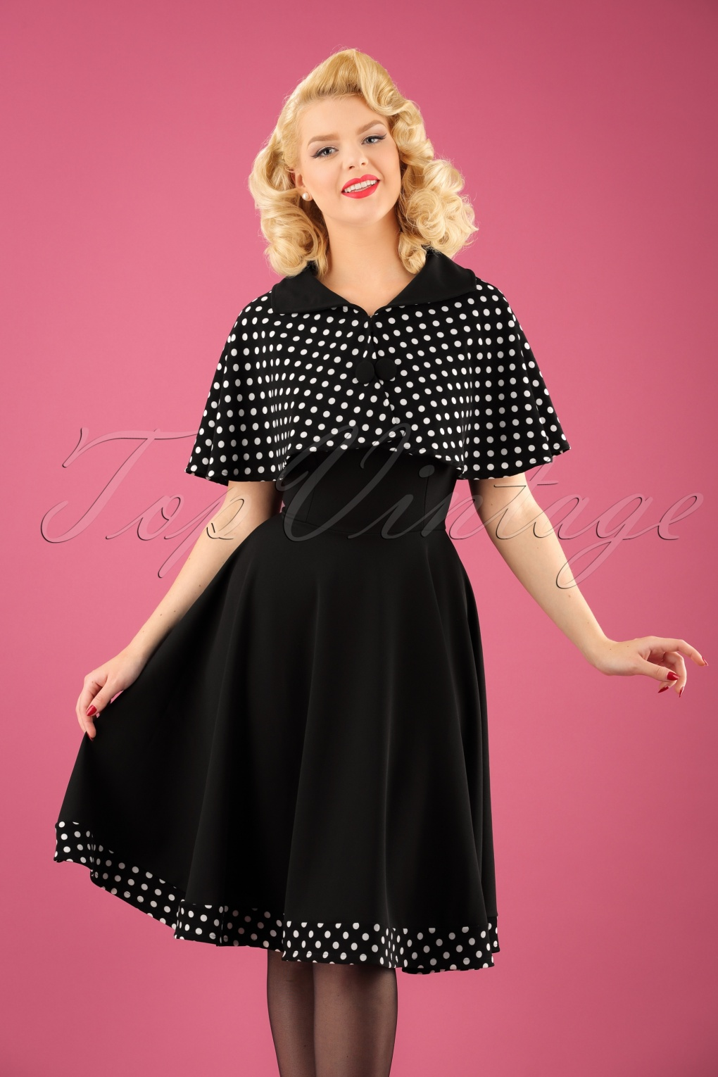 500 Vintage Style Dresses for Sale 50s Lesly Polkadot Cape Swing Dress in Black £55.60 AT vintagedancer.com