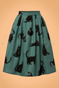 TopVintage Exclusive ~ 50s Cats Swing Skirt in Duck Egg Green