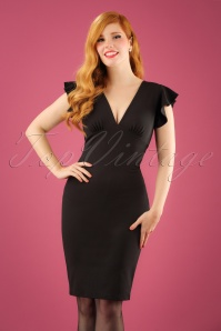 50s Shella Pencil Dress in Black