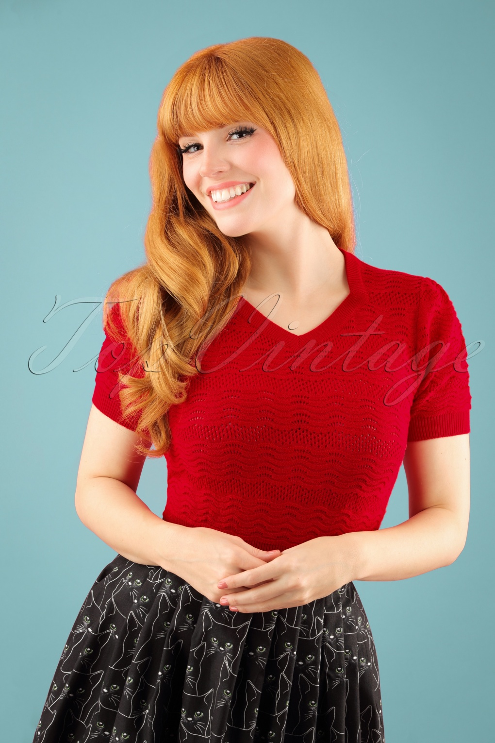 50s Sweetheart Knit Sweater in Red