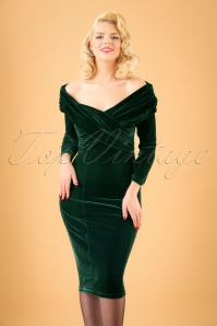 Collectif Clothing Hollie Velvet Green Wiggle Dress 16102 20150624 01W