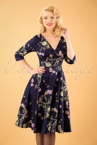 Hearts and Roses Purple floral bird swing dress 102 69 23157 20171025 1W