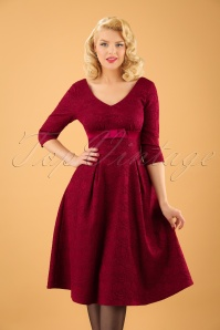 50s Jane Jacquard Swing Dress in Burgundy Red