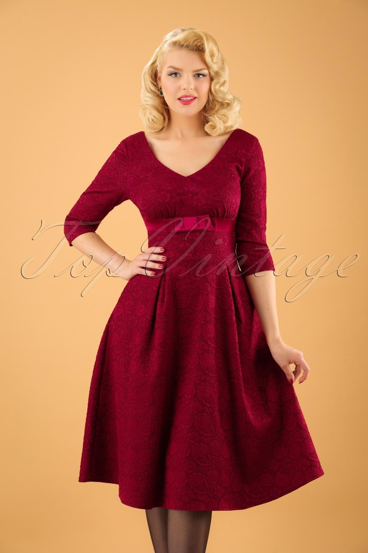 50s Jane Jacquard Swing Dress in Burgundy Red