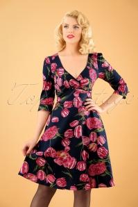 50s Katherine Tulip Swing Dress in Navy