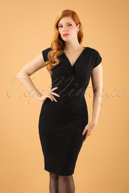 50s Femme Fatale Glitter Pencil Dress in Black