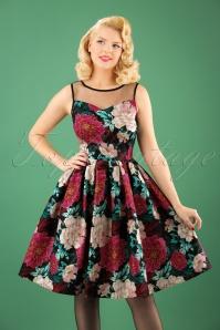 50s Elizabeth Floral Swing Dress in Black