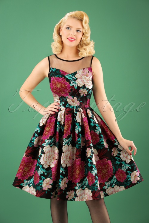 Dolly and Dotty Black Floral Swing Dress 102 14 22961 20171023 1W