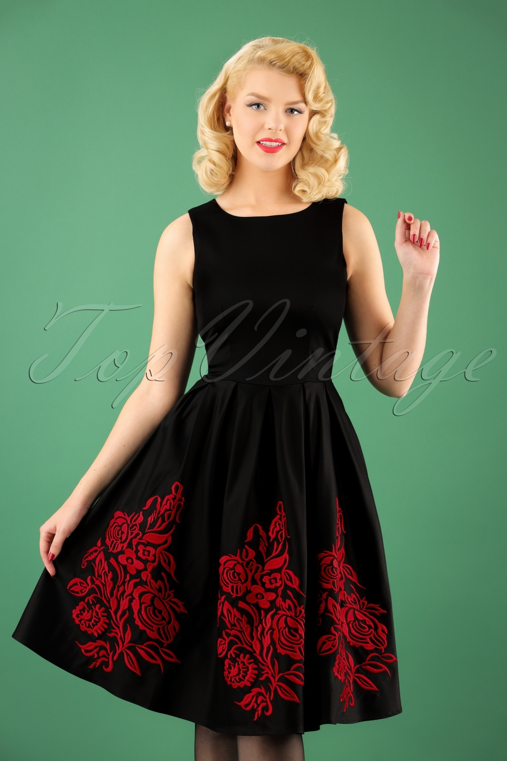 50s Annie Red Embroidery Dress in Black