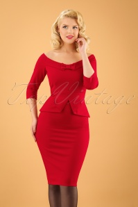 Vintage Chic Peplum Style Scuba Red Pencil Dress 100 20 19629 20161117 01W