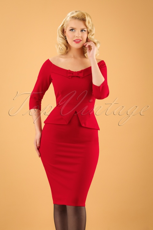 vintage style red dresses 50s paloma peplum pencil dress in lipstick red 6750