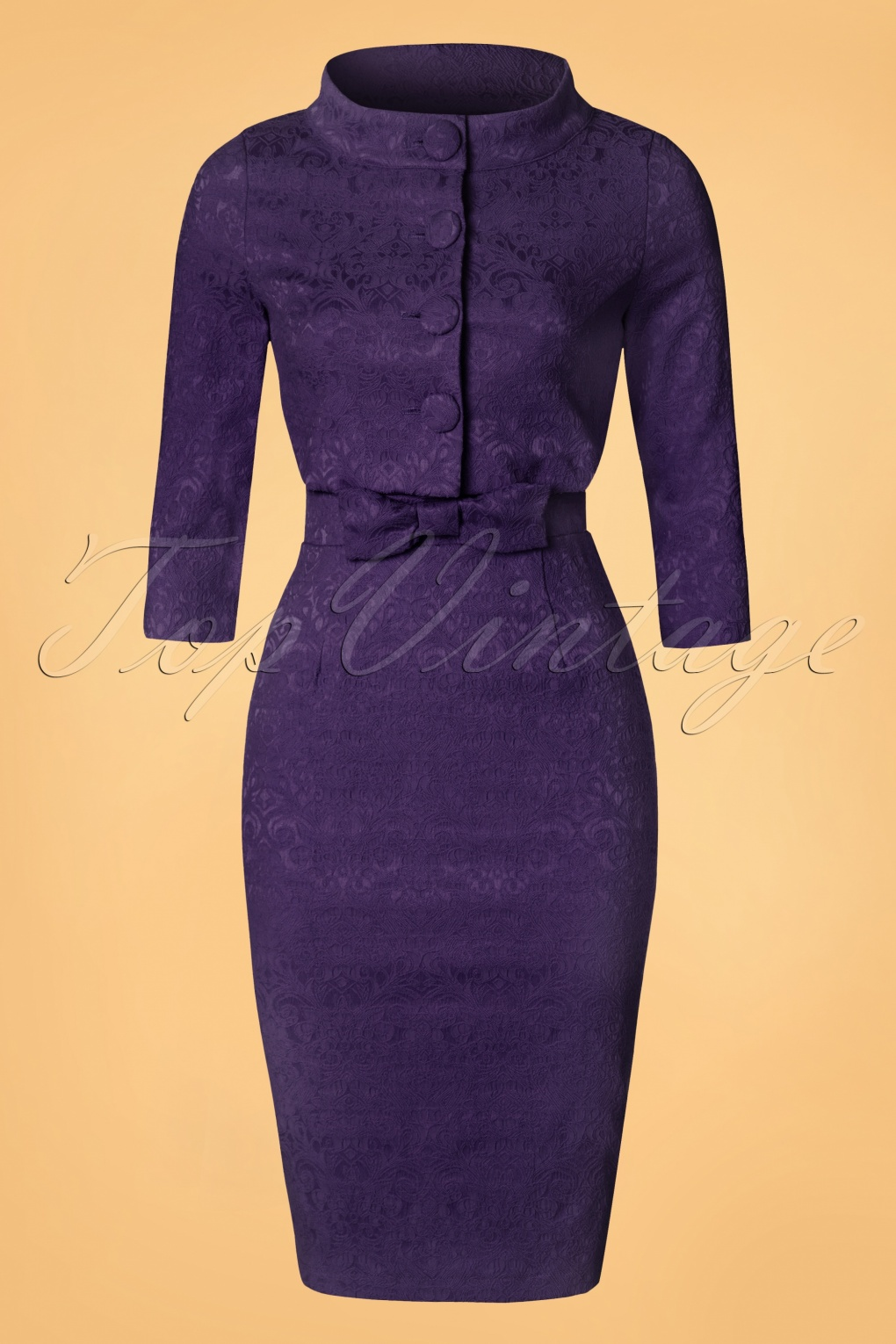 1960s Mad Men Dresses and Clothing Styles 60s Maybelle Jacquard Twin Set in Aubergine £58.66 AT vintagedancer.com