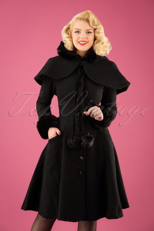 Collectif Clothing Adelita Coat and Cape in Black 21714 20170612 1W