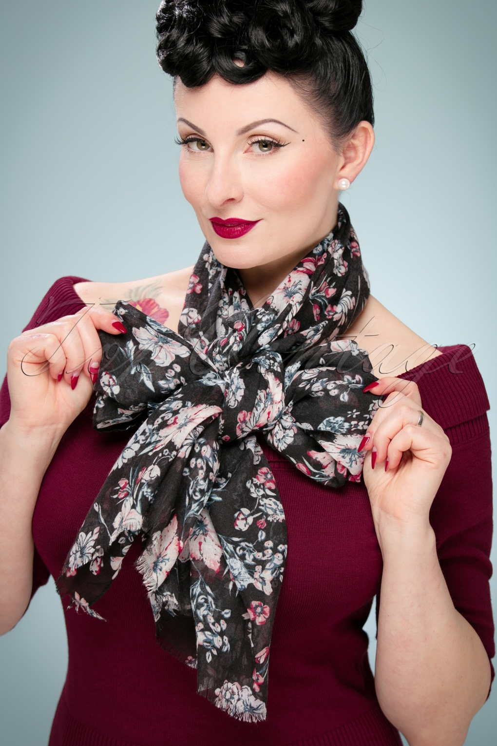 Vintage Scarf Styles -1920s to 1960s 60s It Is All About Flowers Scarf in Black £11.35 AT vintagedancer.com