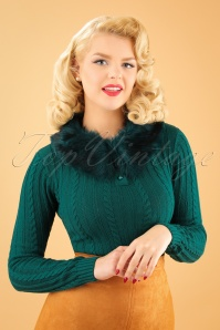 Collectif Clothing Felicity Fur Collar Jumper in Teal 21820 20170609 20W