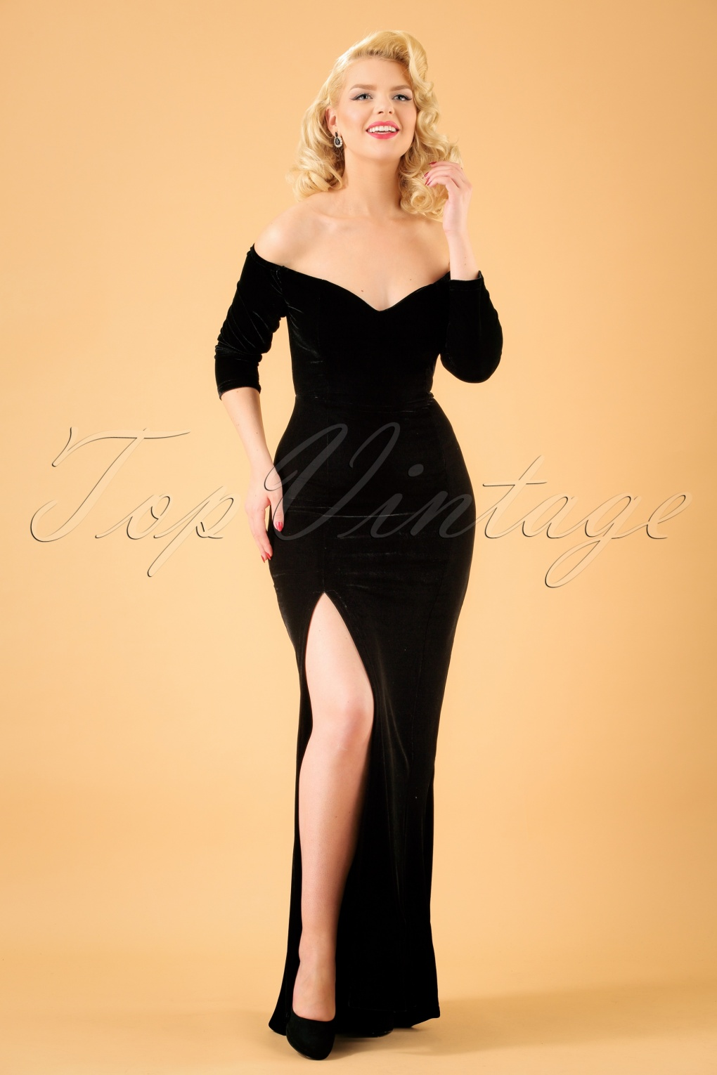 What Did Women Wear in the 1950s? 1950s Fashion Guide 50s Anjelica Velvet Maxi Dress in Black £63.30 AT vintagedancer.com