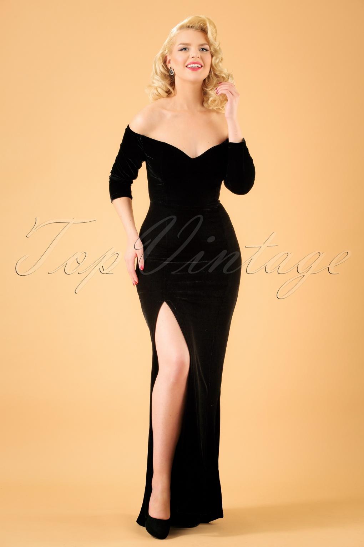 1950s Prom Dresses & Party Dresses 50s Anjelica Velvet Maxi Dress in Black £62.73 AT vintagedancer.com