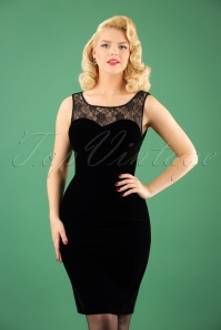 Hearts and Roses Black Velvet Lace Pencil Dress 100 20 22732 20171025 1W