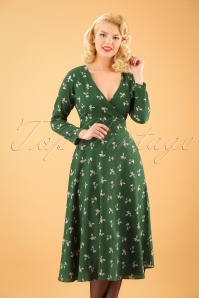 Collectif Clothing Willa Presed Floral Wrap Dress in Olive 21851 20170613 1W