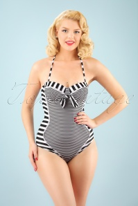 Belsira 50s Nancy Stripes Halter Swimsuit in Black and White
