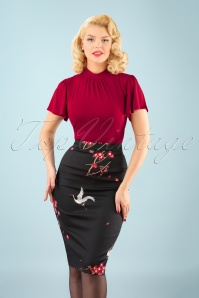50s Polly Cranes Blossom Pencil Skirt in Black
