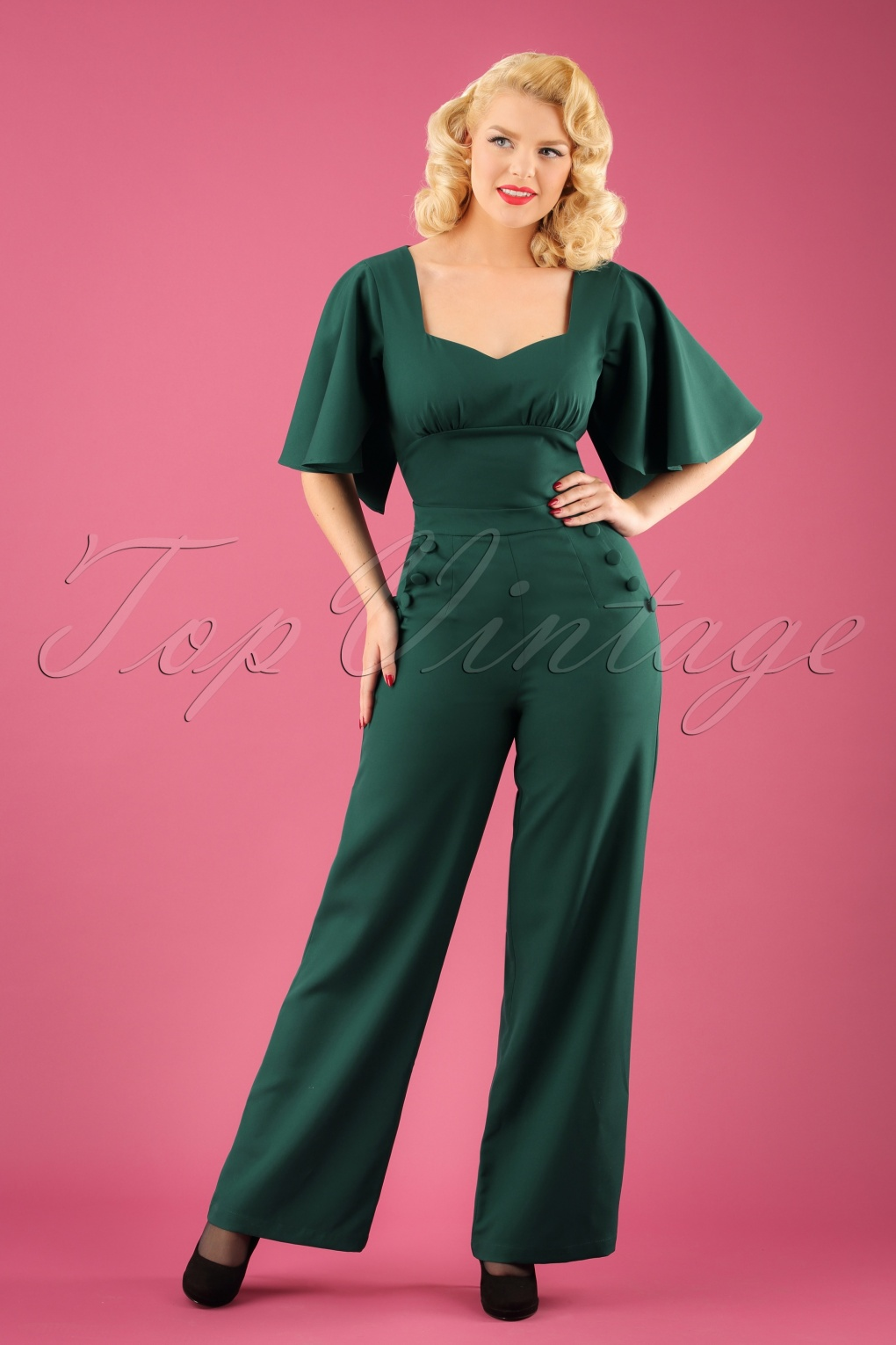Vintage High Waisted Trousers, Sailor Pants, Jeans 40s Esmeralda Cape Jumpsuit in Teal Green £64.89 AT vintagedancer.com