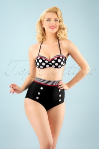 Bellissima 50s Debra Polkadot Stripes Halter Bikini in Black and White