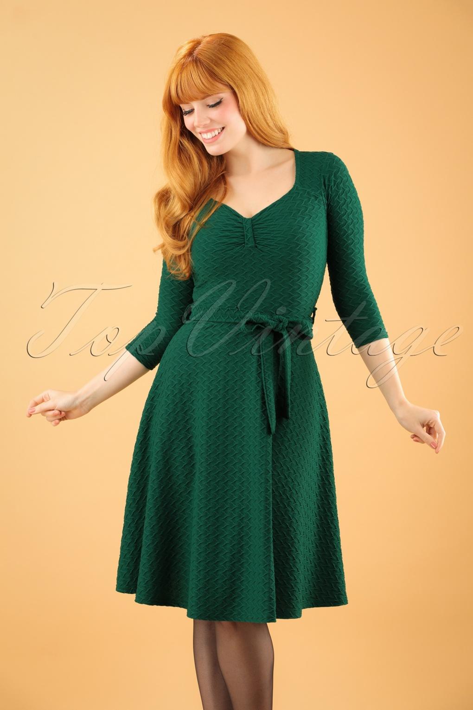 50s Diana Swing Dress In Emerald Green