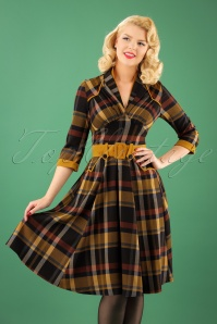 TopVintage Exclusive ~50s Tatiana Dora Tartan Swing Dress in Yellow and Navy