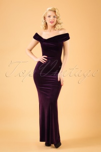 Vintage Chic Velvet Side Purple Maxi Dress 108 60 22470 20171023 1W