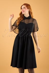Unique Vintage 1940s Style Black Brushed Cotton Luna Swing Dress Mesh Capelet 1021011315 6W