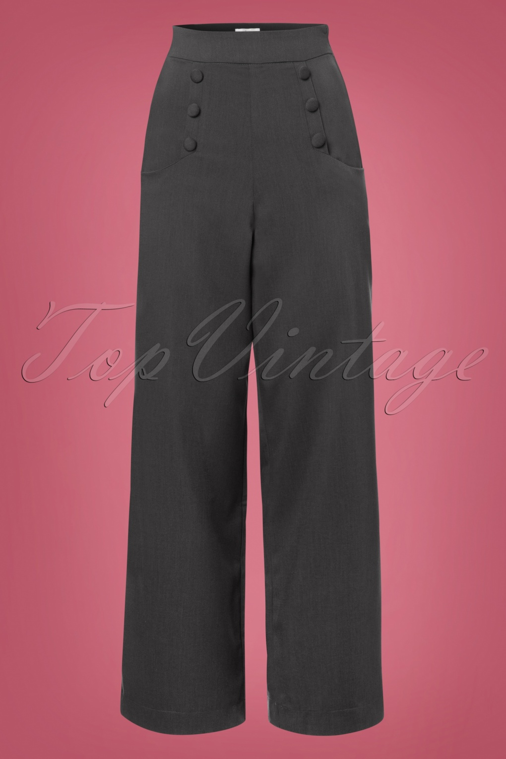 Vintage Wide Leg Pants 1920s to 1950s History 40s Ginger Trousers in Charcoal Grey £79.67 AT vintagedancer.com