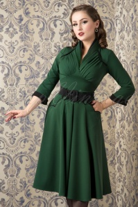 Miss Candyfloss Grain Green Black Swing Dress 102 40 16244 20151016 023W